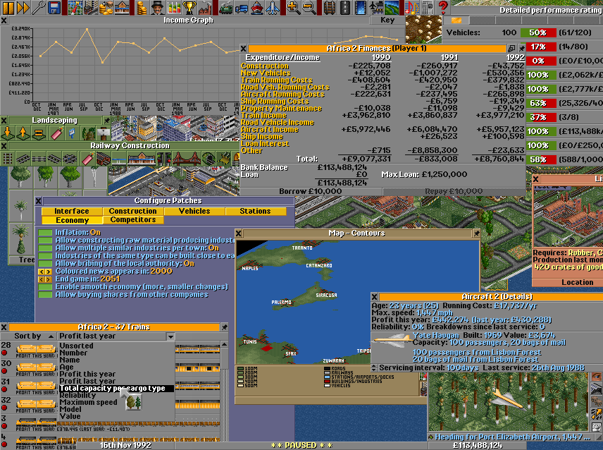OpenTTD has its own window management as it runs on so many platforms. This picture has been stuffed to unplayability with windows. We can see company income, finances and performance rating (which is used as a score when you finish the game). We can also see two construction-toolbars, with the tree-tool selected. On the left side is the list of trains, which will be sorted by total capacity.A bit to the right we can see a relief-map, which can be toggled to show various states (relief, transport routes, ownership) and allows you to scroll around the 'universe'. On the right side we have zoomed into a Concorde making a hefty profit judging by the details window. Lastly an almost invisble detailed industry window.
