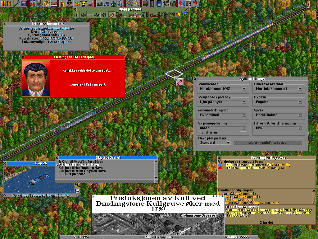To make OpenTTD more internationally appealing, we already have over 20 translations you can choose from. In this particular screenshot the language is set to Norwegian. We can see the settings window where you can change the language amongst others (item Språk) and a failed attempt to try and sabotage a competitor's rails.