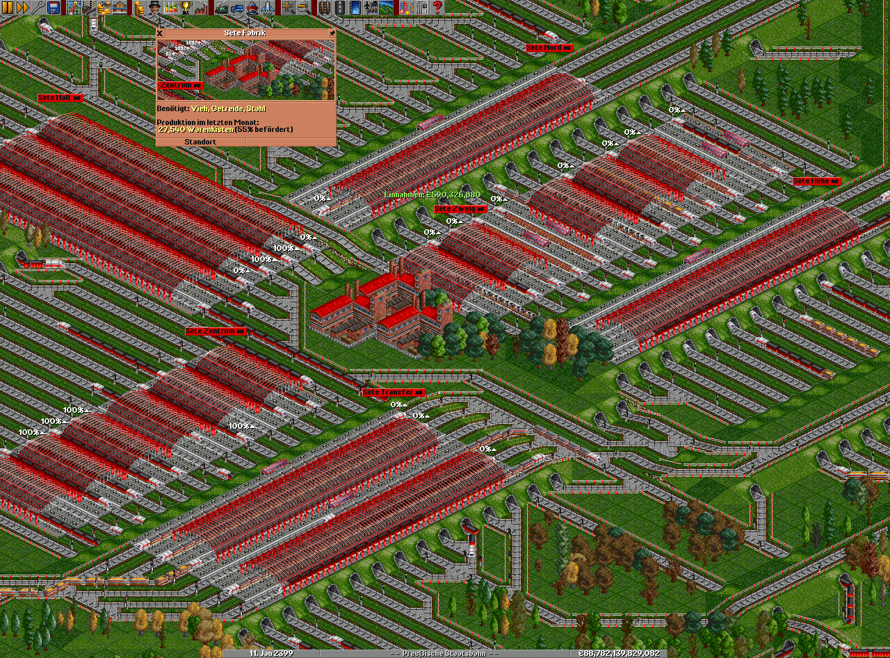 Very crowded factory where the trains can't handle the output.