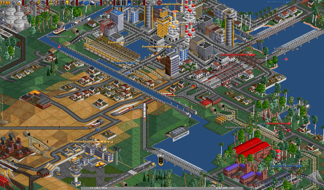 View on a desert island town, using the free OpenGFX base graphics.