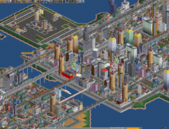 A coastal city with overhead railways