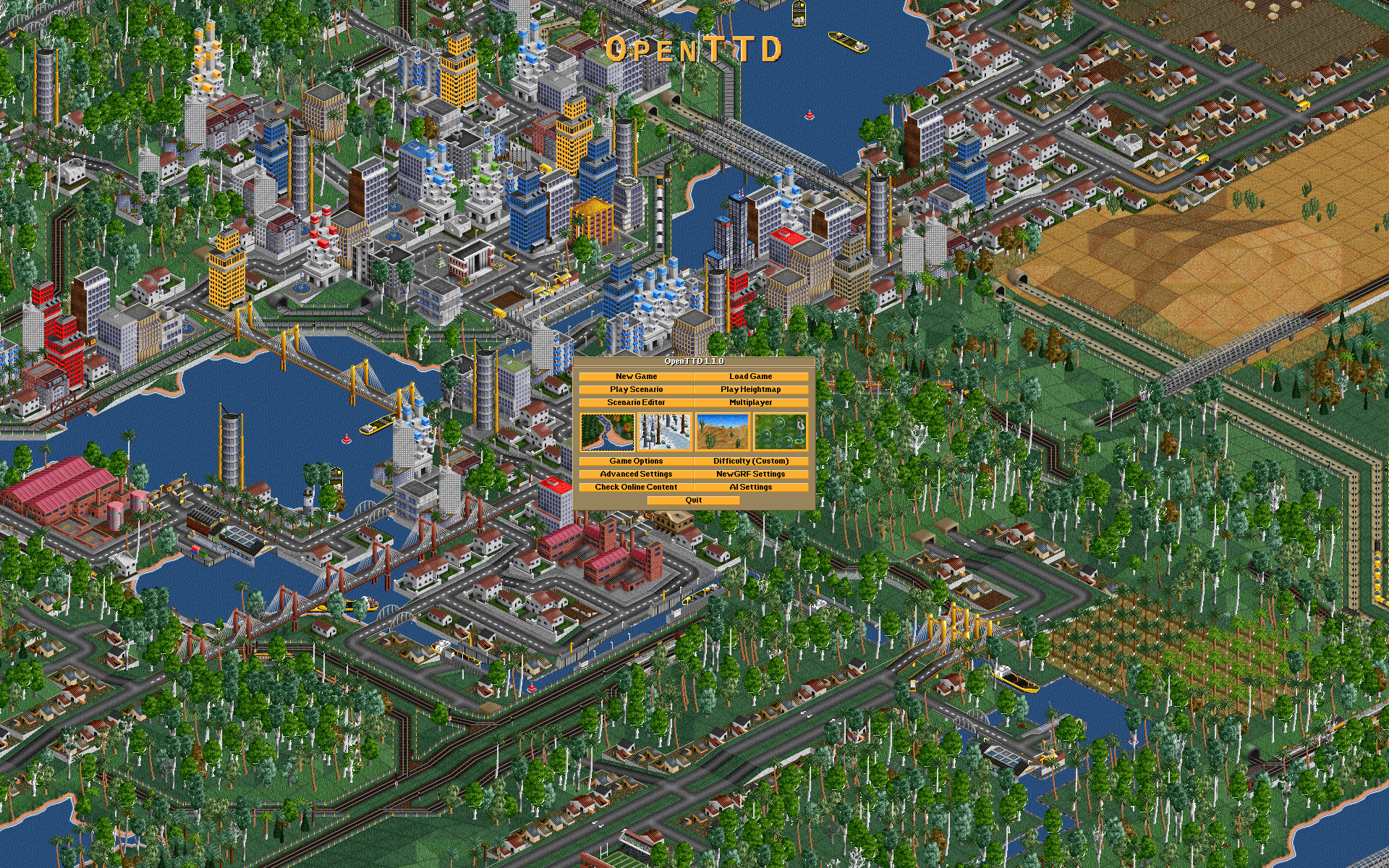 The title screen from OpenTTD 1.1
