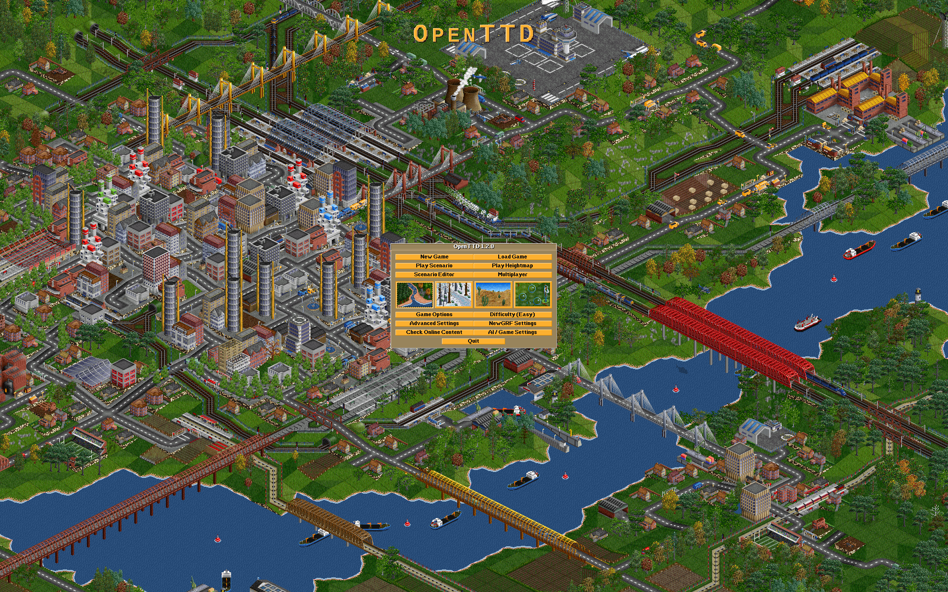 The title screen from OpenTTD 1.2
