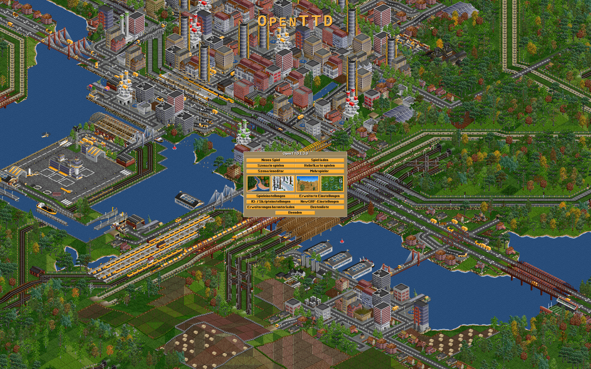 The title screen from OpenTTD 1.3.