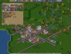 In this screenshot the RealGrowth game script is used to replace the default OpenTTD town growth mechanism with a new one specially created to work with the FIRS NewGRF.