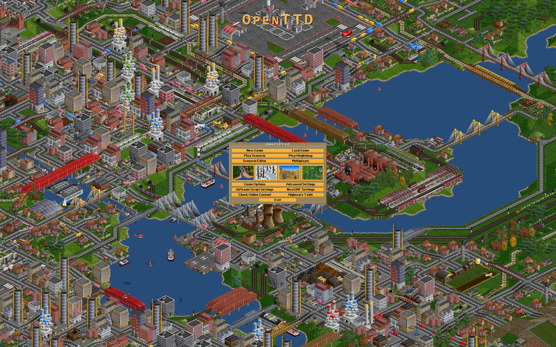 The title screen from OpenTTD 1.4.